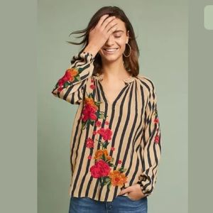 Elena + Kin Embroidered Striped Blouse S